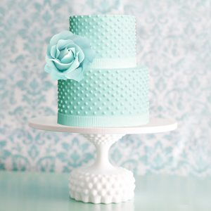Hobnail cake stand with mint green cake