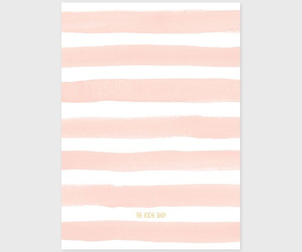 The Joanne - Gold and Blush Stripes Watercolor Bridal Shower Invitations