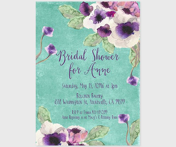 The Annie - Aqua Watercolor Bridal Shower Invitations