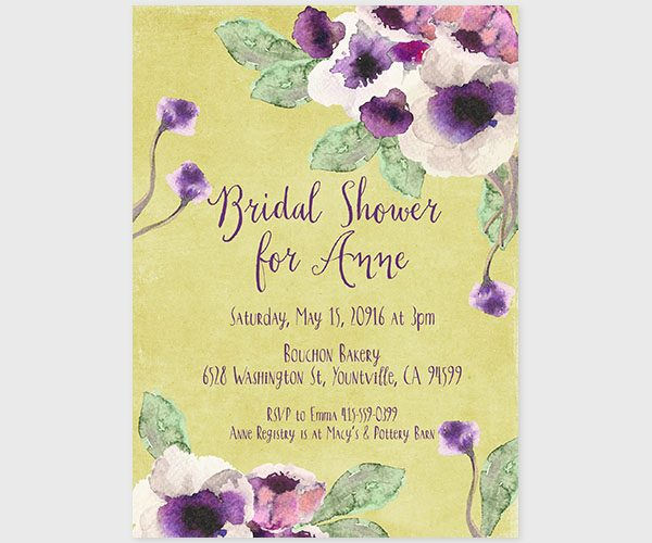 The Annie – chartreuse watercolor anemone bridal shower invitations