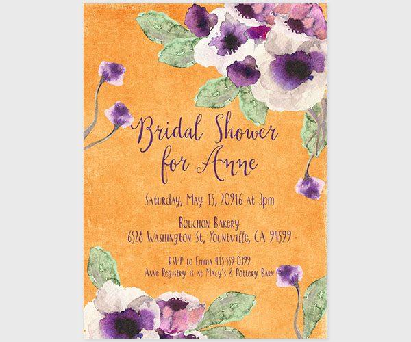 The Annie – orange watercolor anemone bridal shower invitations