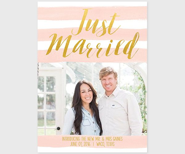 The Joanne – Gold and Blush Stripes Wedding Announcements