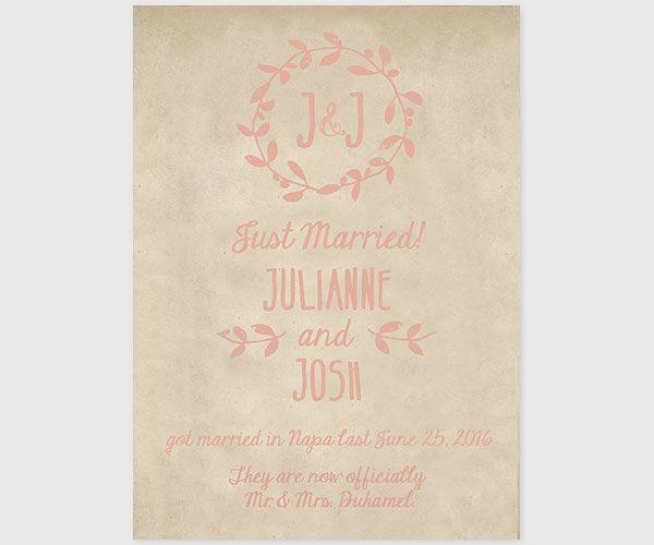 The Julianne - Coral Pink Chevron Burlap Wedding Elopement Cards