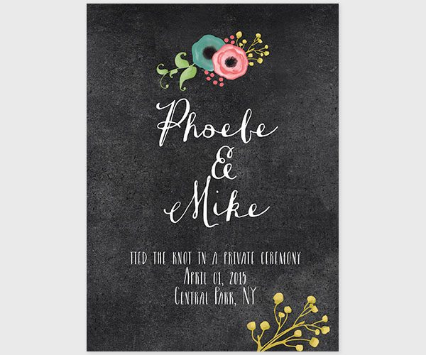 The Phoebe – Spring Flowers chalkboard Wedding Announcements