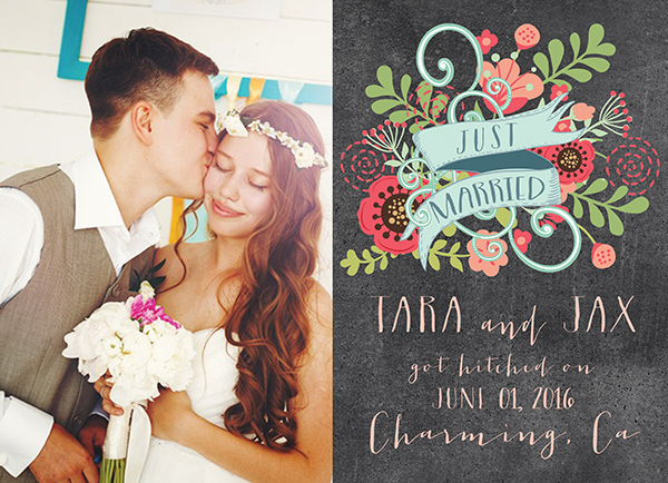 The Tara- Chalkboard Chic Floral Wedding Announcements