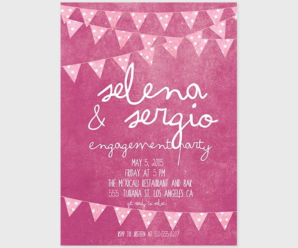 The Selena - Fuchsia Pink Bunting Engagement Party Invitations