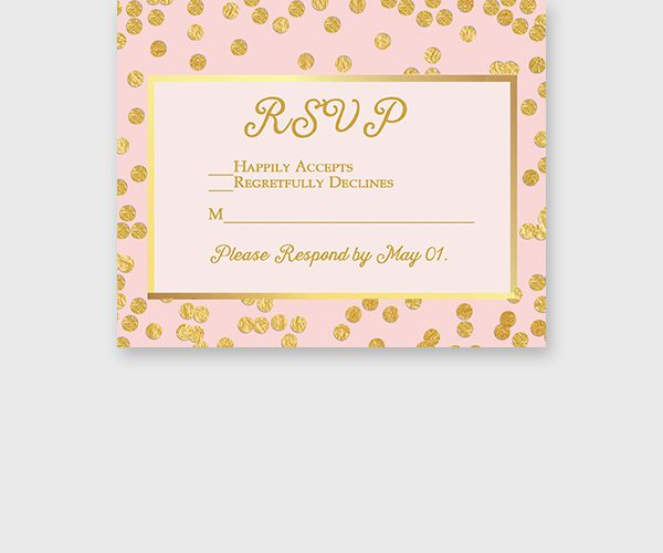 Blush and Gold Confetti RSVP cards