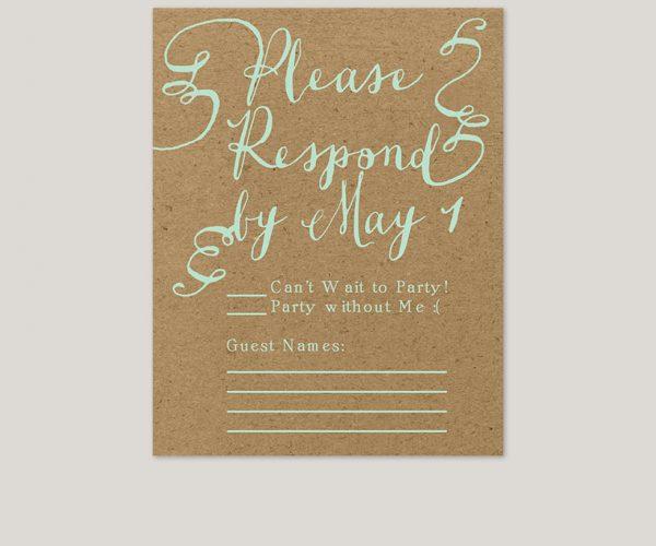 Mint green & coral peach flowers kraft wedding invitations