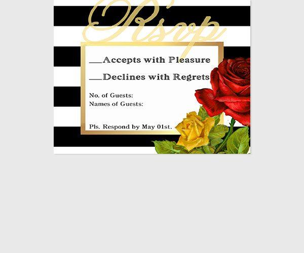 Black & white stripes with roses RSVP cards