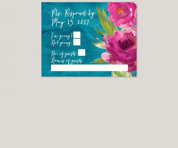 THE SOOKIE - Raspberry roses on peacock blue watercolor wedding invitations