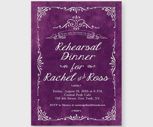The Rachel - Purple Passion Rehearsal Dinner Invitations