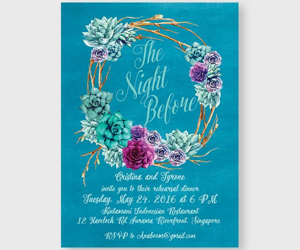 The Ria - Succulents Rehearsal Dinner Invitations
