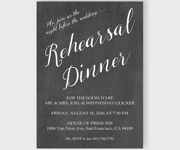 Calligraphy Chalkboard Rehearsal Dinner Invitations