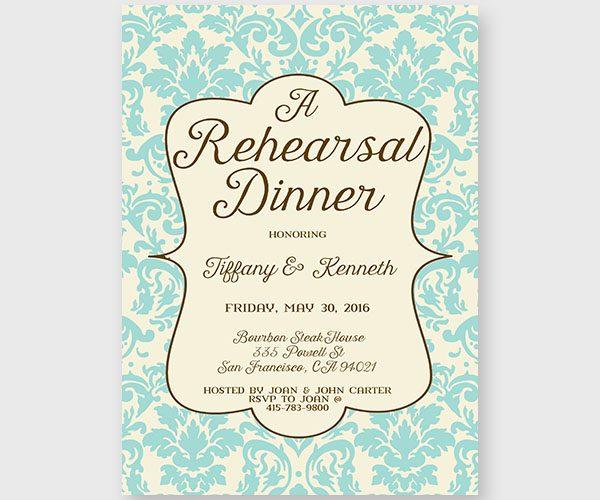 Tiffany Blue Damask Rehearsal Dinner Invitations