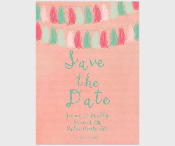 THE JENNA- Coral Pink and Mint Tassel Garland Save The Date Cards