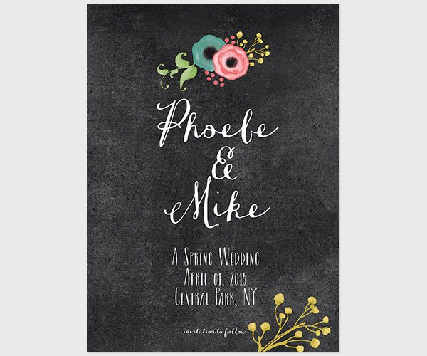 Chalkboard Save The Date Cards for Spring Weddings