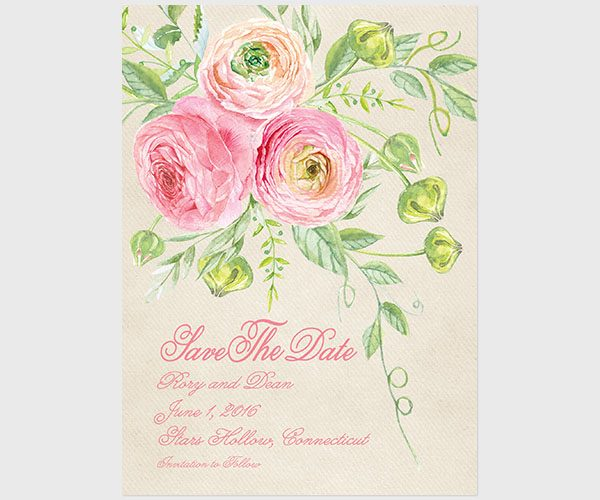 The Rory - Coral pink ranunculus save the date cards