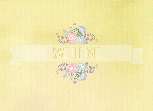 THE SYBIL - Pastel Yellow Floral Banner Save The Date Cards