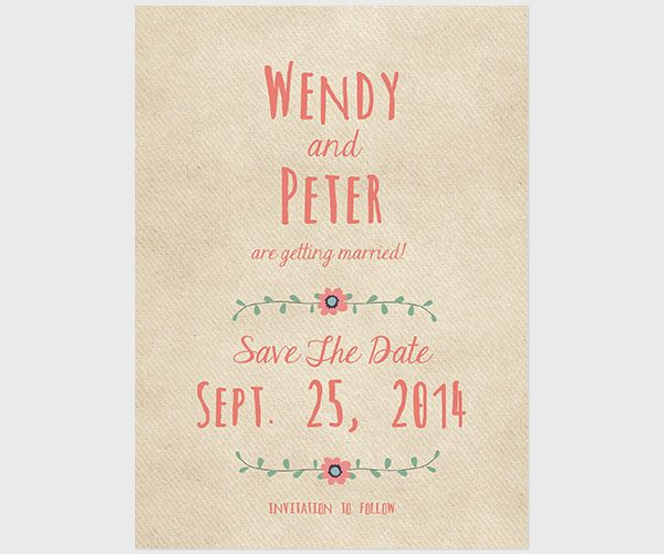 THE WENDY - boho chic bohemian save the date cards