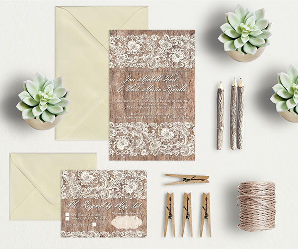 Lace and Wood Wedding Invitations and RSVP cards