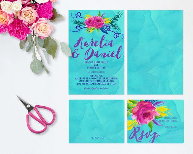 Colorful Watercolor Wedding Invitations