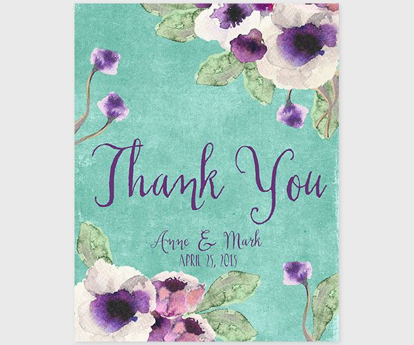 The Annie - Aqua Watercolor Anemone Thank You Cards