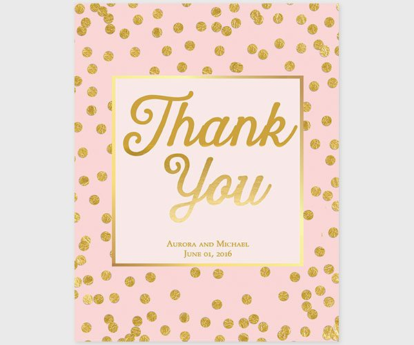 The Aurora - Blush & Gold Confetti Dots Thank You Cards