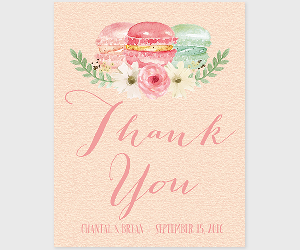 4677c366dc3e6 The Chantal- French Macarons Thank You Cards