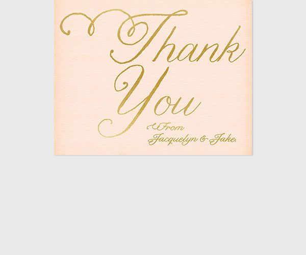 THE JACQUELYN - blush and gold wedding thank you cards