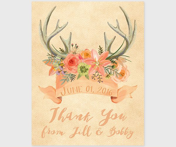 The Jill - Rustic Chic Antler Peach Thank You Cards