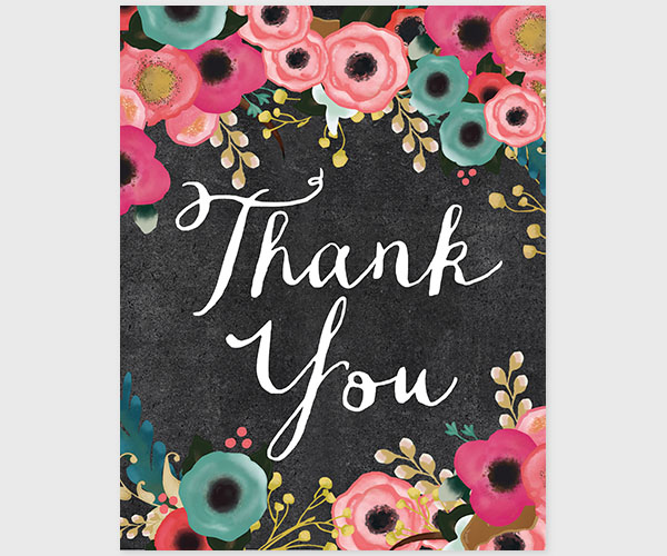 April Showers Bring May Flowers Spring Chalkboard: Spring Flowers Chalkboard Thank You Cards