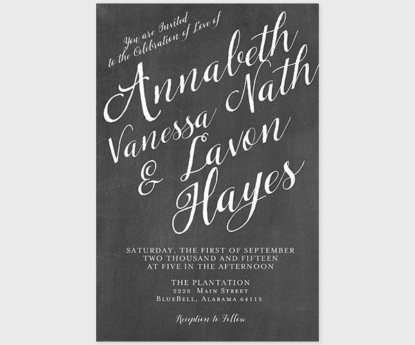 The Annabeth - Chalkboard & Calligraphy Wedding Invitations