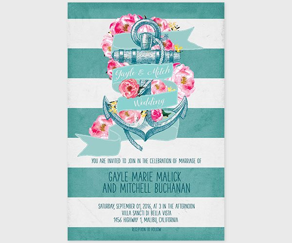 Anchor Aqua Stripe Wedding Invitations