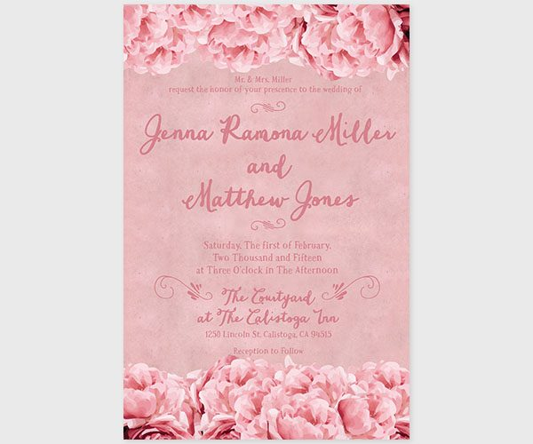 THE JESSIE - Shabby chic pink peonies wedding invitations