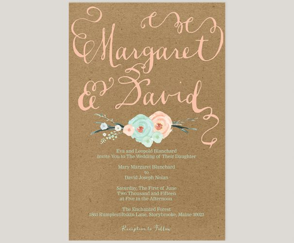 THE MARGARET - Mint green & coral peach flowers kraft wedding invitations