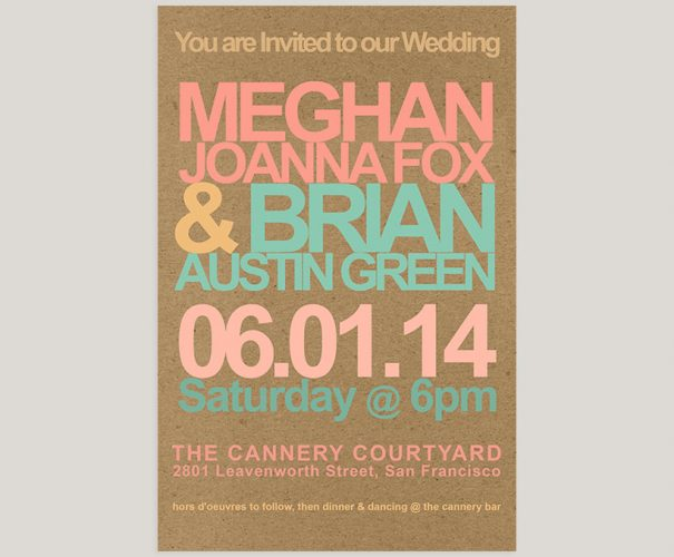 THE MEGHAN – Retro modern kraft wedding invitations