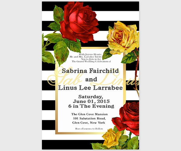 THE SABRINA - Black & white stripes w/ Red & Yellow Roses Wedding Invitations