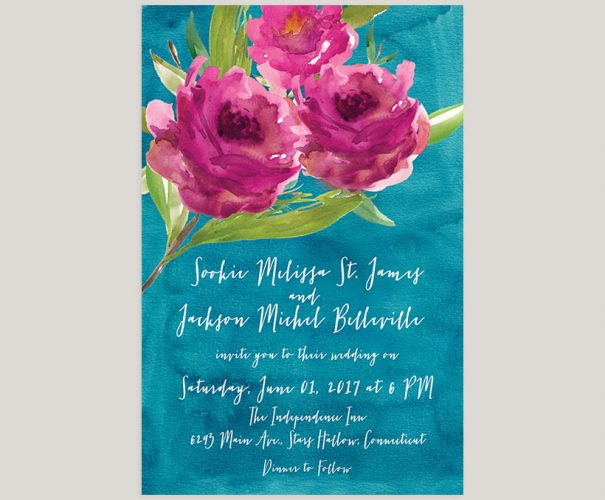 Raspberry roses on peacock blue watercolor wedding invitations