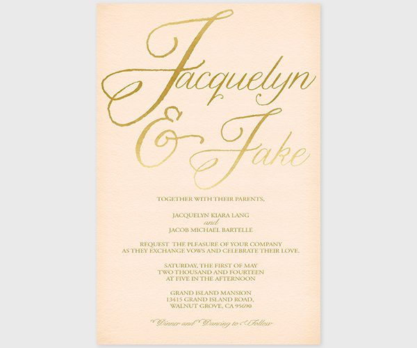 THE JACQUELYN - blush and gold wedding invitations