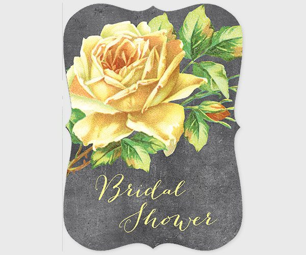 The Alma - Yellow Vintage Rose Bridal Shower Invitations