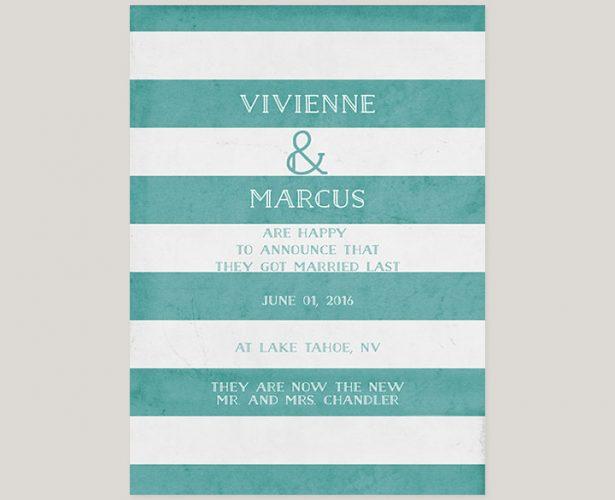 Aqua Stripes Wedding Announcements or Elopement Cards