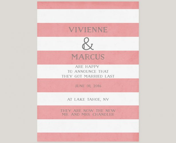 Cottage chic pink stripes wedding announcement cards
