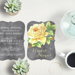 Yellow Vintage Rose Bridal Shower Invitations