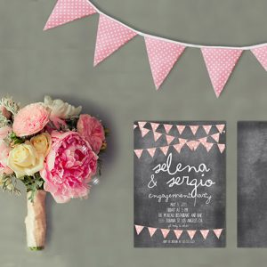 Chalkboard Bunting Engagement Party Invitations