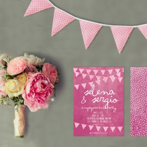 Fuchsia Pink Bunting Engagement Party Invitations