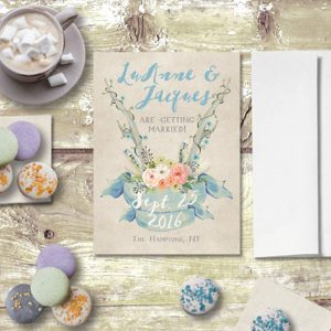 THE LUANNE- Rustic chic blue antler save the date cards