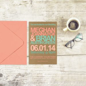 Retro modern kraft wedding invitations