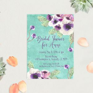 Aqua Watercolor Anemone Bridal Shower Invitations
