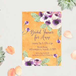 Orange Watercolor anemone Bridal Shower Invitations