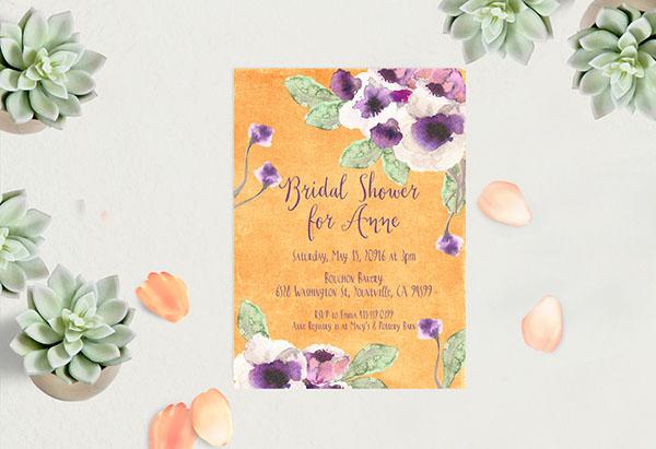 Orange Watercolor anemone Bridal Shower Invitations